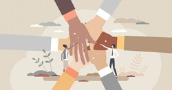 Community people holding hands together as social unity tiny person concept. Multiracial society crowd teamwork and partnership gesture for inspiration and loyalty vector illustration. Public union.
