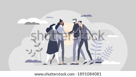 Community teamwork bonding and united group partnership agreement tiny person concept. Trust circle with company hands holding together as solidarity, trust and support network vector illustration.
