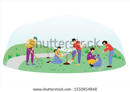 Community work day flat vector illustration. Volunteers, activists isolated cartoon characters on white background. Young people cleaning garbage and planting trees. Environment protection concept stock photo
