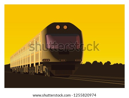 commuter train in perspective