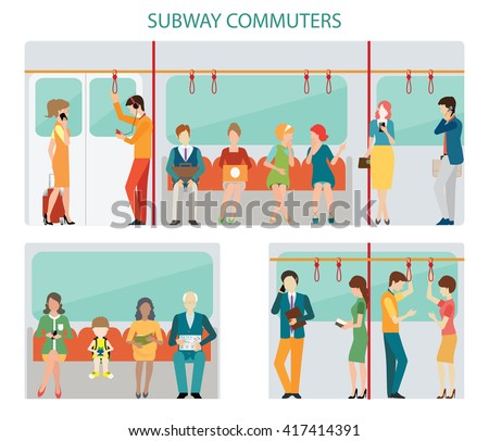 Commuters subway or passangers activities in subway, interior subway train, Flat design with character vector illustration.