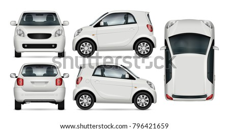 Compact car vector mock up for advertising, corporate identity. Isolated template of small car on white background. Vehicle branding mockup. Easy to edit and recolor. View from side, front, back, top.
