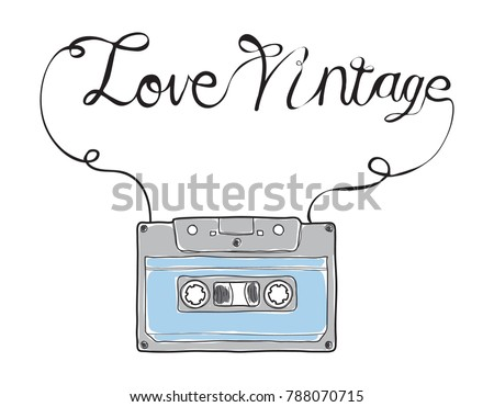 Compact Cassette, Musicassette  hand drawn.love vintage vector , cassette tape, audio cassette with analog magnetic tape  illustration  art