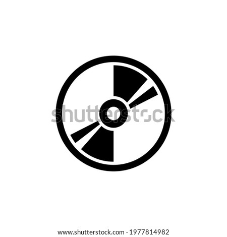 Compact Disk, Blu-ray, CD or DVD. Flat Vector Icon illustration. Simple black symbol on white background. Compact Disk, Blu-ray, CD or DVD sign design template for web and mobile UI element. Сток-фото ©