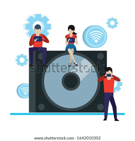compact disk device with mini people vector illustration design Stock fotó ©