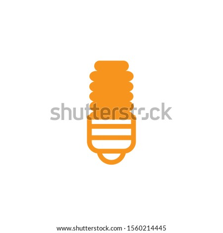compact fluorescent lamp energy electricity light yellow line style vector illustration
