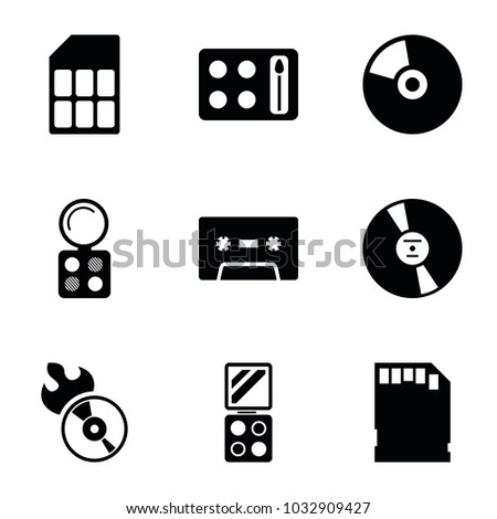 Compact icons. set of 9 editable filled compact icons such as eyeshadow palette, disc flame, memory card, cd