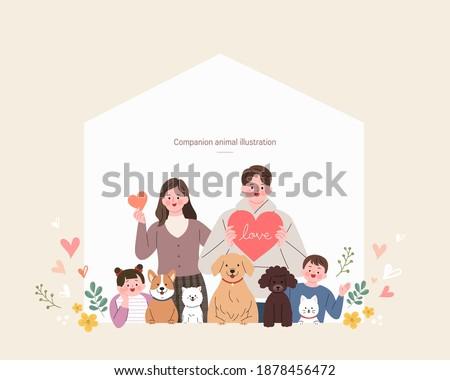 companion animals illustration with people  Foto stock ©