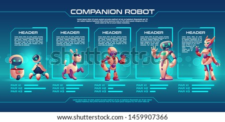 Companion robot evolution timeline infographics, Robotics progress stages from small droid to humanised cyborg. Game character unit design, level up upgrade guide with development steps Cartoon vector