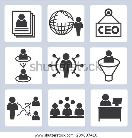company and business management icons set