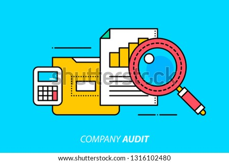 Company audit. Colorful illustration on bright cyan background. Modern outline style.