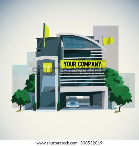 company building in city - vector illustration