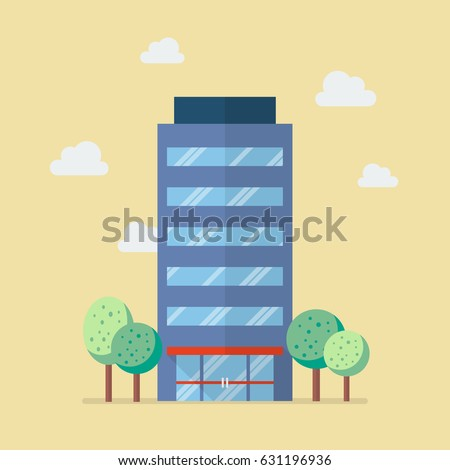 company building in flat style. ...