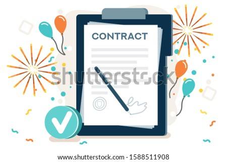 Company contract greeting, successful agreement idea. Friendship to success, friend congratulation. Joy to flying joyful on the air to celebrate an achievement. Young celebration leader. Flat vector.