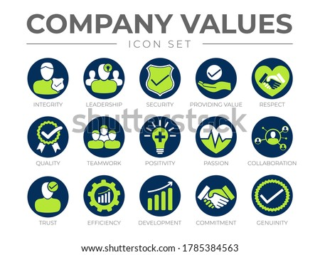 Company Core Values Round Icon Set. Integrity, Leadership, Security, Providing Value, Respect, Quality, Teamwork, Passion, Collaboration, Trust, Efficiency, Development, Commitment, Genuinity Icons.