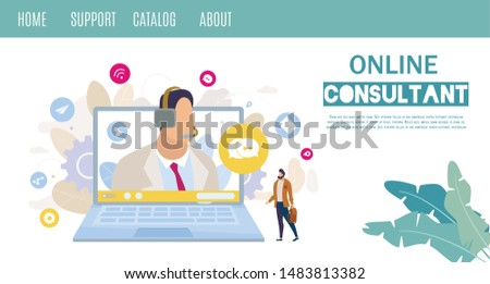 Company Customers Online Support and Consulting Service or Hot Line Flat Vector Web Banner, Landing Page Template. Man Asking Question, Searching Technical Advice, Messaging to Helpline Illustration