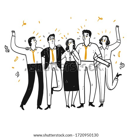 Company employee or businessman Walk in line Talk happily, Hand drawn Vector Illustration in sketch doodle style.