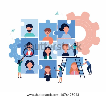 Company employment vacancy and human resources concept with an interlocking graph of jigsaw puzzle pieces showing diverse people and business personnel conducting a search head hunting, vector