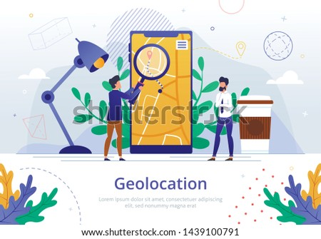 Company Geolocation Logistics Analysis Vector Banner Template Businessmen Analyzing Product Delivery Route on Cellphone Screen with Magnifying Glass, Searching Ways to Optimize Transportation Costs