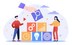 Company goal achievement concept. Man and woman make up a strategy for achieving high results in business. Increase in sales. Cartoon modern flat vector illustration isolated on a white background