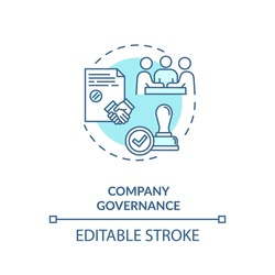 Company governance concept icon. Corporate management. Business partnership. Board of directors meeting idea thin line illustration. Vector isolated outline RGB color drawing. Editable stroke