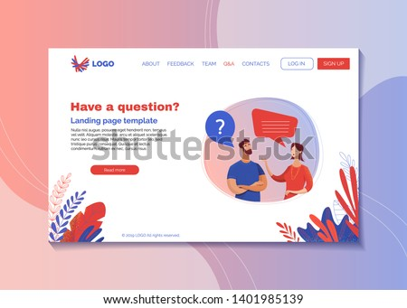 Company helpline landing page flat vector template. Customer and call center worker cartoon characters with speech bubbles. Client support, helpdesk webpage interface with text space