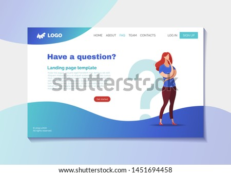 Company helpline landing page vector template. Corporate FAQ webpage design layout with text space. Confused customer, client needs help cartoon character. User profile, registration tips website page