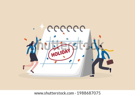 Company holiday for employee to take a break and recharge, employee appreciation day or long holiday happiness concept, business people with big calendar jumping with joy to celebrate long holiday.