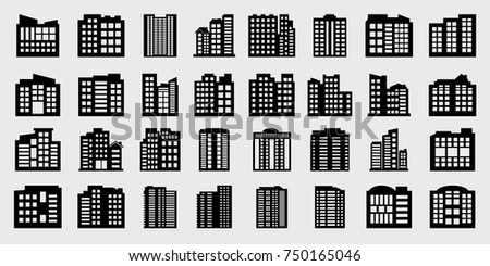 Company Icons set, Big Building Vector illustration