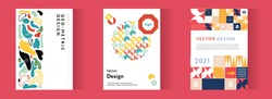 Company identity brochure template collection. Business presentation vector A4 vertical orientation front page mock up set. Corporate report cover abstract geometric illustration design layout bundle