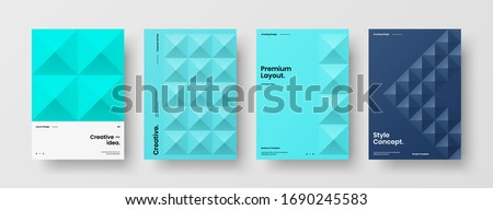 Company identity brochure template collection. Business presentation vector A4 vertical orientation front page mock up set. Corporate report cover abstract geometric illustration design layout bundle. Stock photo ©