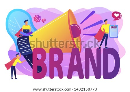 Company identity, marketing and promotional campaign. Personal brand, self-positioning, individual brand strategy, build your personal brand concept. Bright vibrant violet vector isolated illustration
