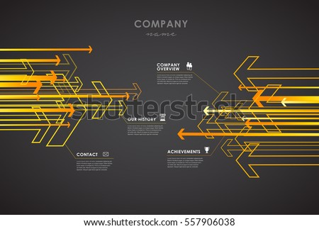 stock-vector-company-infographic-overview-design-template-with-arrows-and-icons-dark-version
