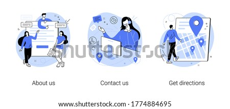 Company information abstract concept vector illustration set. About us, contact us, get directions, website menu, starting web page, business profile, office information, navigation abstract metaphor.