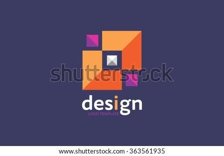 company logo. logo design. geometrical logo. colourful emblem