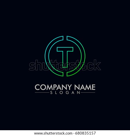 company logo vector of the letter T green and blue color Stock fotó ©