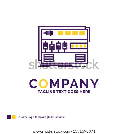 Company Name Logo Design For Audio, mastering, module, rackmount, sound. Purple and yellow Brand Name Design with place for Tagline. Creative Logo template for Small and Large Business.