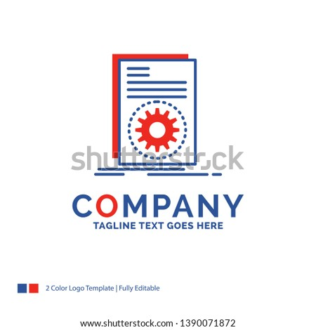 Company Name Logo Design For Code, executable, file, running, script. Blue and red Brand Name Design with place for Tagline. Abstract Creative Logo template for Small and Large Business.