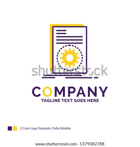 Company Name Logo Design For Code, executable, file, running, script. Purple and yellow Brand Name Design with place for Tagline. Creative Logo template for Small and Large Business.