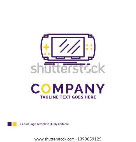 Company Name Logo Design For Console, device, game, gaming, psp. Purple and yellow Brand Name Design with place for Tagline. Creative Logo template for Small and Large Business.