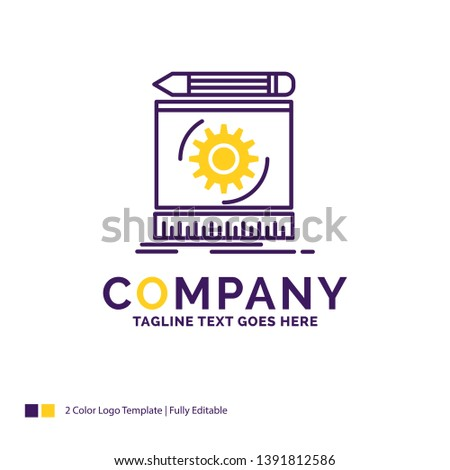 Company Name Logo Design For Draft, engineering, process, prototype, prototyping. Purple and yellow Brand Name Design with place for Tagline. Creative Logo template for Small and Large Business.