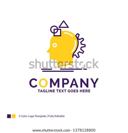 Company Name Logo Design For Imagination, imaginative, imagine, idea, process. Purple and yellow Brand Name Design with place for Tagline. Creative Logo template for Small and Large Business.