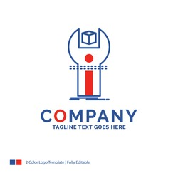 Company Name Logo Design For SDK, App, development, kit, programming. Blue and red Brand Name Design with place for Tagline. Abstract Creative Logo template for Small and Large Business.