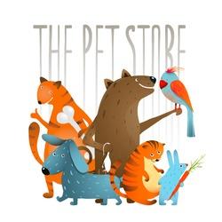Company of Cartoon Domestic Animals. Set of colorful cartoon domestic animals on a white background. Vector EPS10.