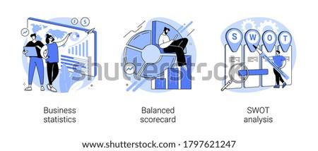 Company performance analysis abstract concept vector illustration set. Business statistics, balanced scorecard, SWOT analysis, enterprise, strategic goal, project planning, progress abstract metaphor.