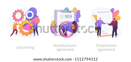 Company principles icons set. Employer and employee contract, labor obligations. Job sharing, nondisclosure agreement, employment agreement metaphors. Website web page template - concept metaphors. Stock foto ©