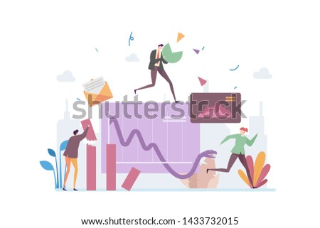 Company Profit Loss Vector Illustration Concept Showing a drop in revenue with a snake based chart, Suitable for landing page, ui, web, App intro card, editorial, flyer, and banner.