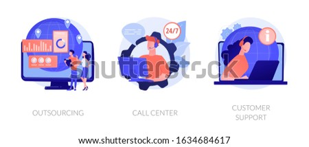 Company services and organizational management. Corporate helpline, client assistance. Outsourcing, call center, customer support metaphors. Vector isolated concept metaphor illustrations. Stock photo ©