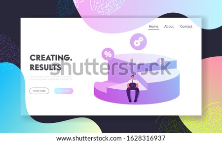 Company Shares Ownership Website Landing Page. Businessman Shareholder Sitting on Pie Chart Diagram Depicts Profit Sharing, Successful Partnership Web Page Banner. Cartoon Flat Vector Illustration