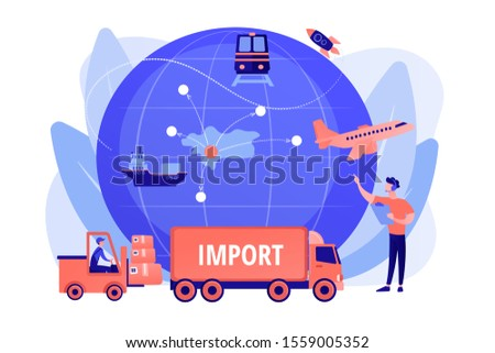Company specializing in foreign products. Import of goods and services, import goods services, international sales process concept. Pinkish coral bluevector isolated illustration
